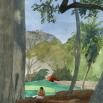 CELESTINE UNDER THE BANYAN_2007_Watercolour on paper_29.5 x 21 cm_Rs 4,000
